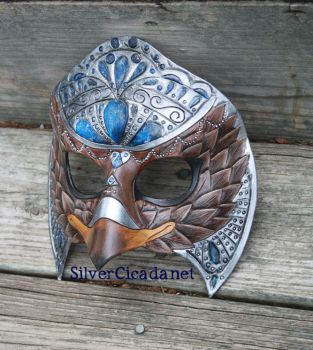 Jeweled Eagle Leather Mask with Faux Lapis by SilverCicada
