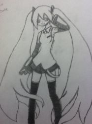 My first drawing of Hatsune Miku by SodaTart