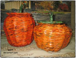 Two pumpkins from newspaper by Alena-48