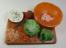Polymer Clay Mixed Salad Prep Board by Bunny-with-Camera