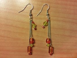 orange and yellow dangling bead earrings by syn-O-nyms