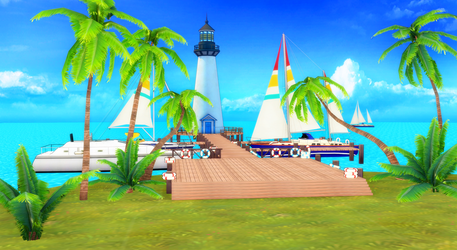 [MMD DL] Pier with lighthouse stage by UnluckyCandyFox