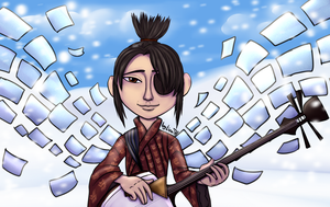 Kubo with paper wings by lizathehedgehog