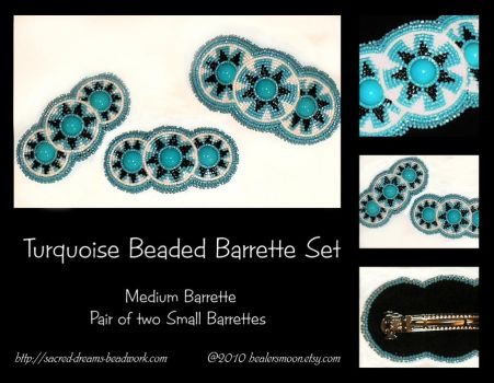 Turquoise Beaded Barrette Set by Healersmoon