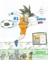 Colored Goku playing Soccer by hikari-chan1
