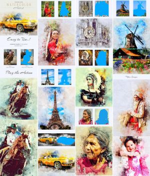 Watercolor Artist Photoshop Action by GraphicAssets