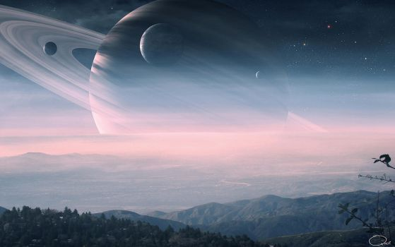 Beautiful View of Saturn by QAuZ