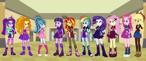 AU Rainbooms Vs Dazzling 7 (with background) by RayJunHwang1771