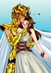 Comiss - Aioria kissing tenderly in front of Vika. by CastaliaDoragon