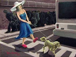 Lady Crossing Street by tadamson