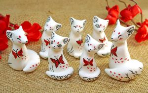 White Oriental Foxes and Cats by Ailinn-Lein