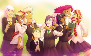 Mane7+Spike: Hogwarts Students! by apricalico