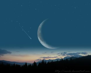 moon light over the mountains by vxside
