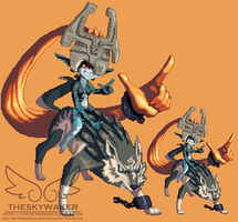 Pixel Wolf Link And Midna (1 12 2017) by theskywaker