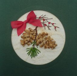 Silk ribbon pine cones card by fairyfrog