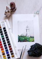 Farhoe Island Lighthouse by Lavenderwitch