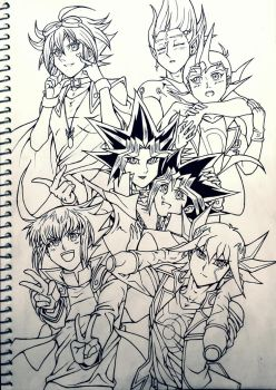 All Yugioh Protagonists (Linework) by Ycajal