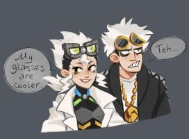 Professor Burnet and Guzma by Kessavel-art