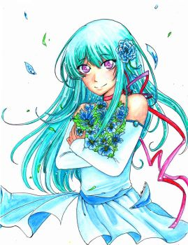 Turquoise Flower Girl by ama-chii