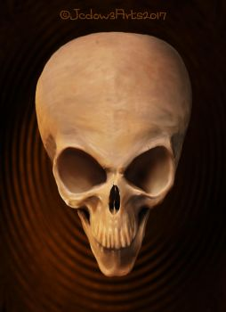 Alien skull painting by Jcdow3Arts