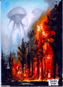 War of The Worlds trading card art by dsilvabarred