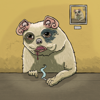 Hamster with ears and cigarette and blod leaking by juscenko