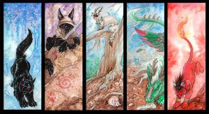 ACEO Cards: Elements by MoonsongWolf