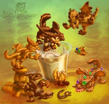 Cookie dragon whelps dunkers by The-SixthLeafClover