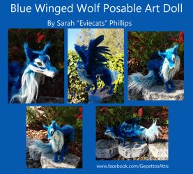 Blue Winged Wolf Posable Art Doll by Eviecats