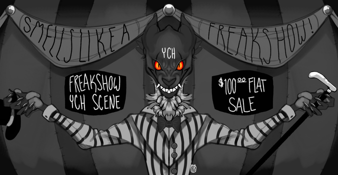 Freakshow Banner YCH scene- CLAIMED by corust