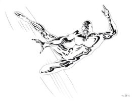Silver Surfer in action by emalterre