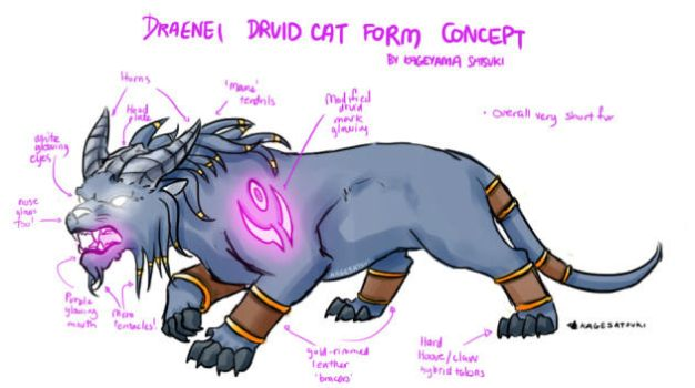 WoW Draenei Druid Cat Form Concept by kagesatsuki