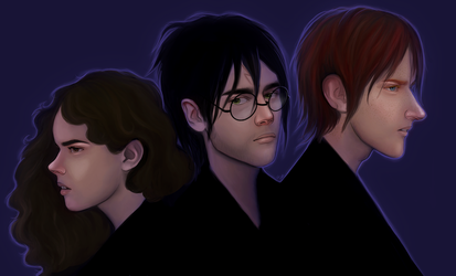 Deathly Hallows Trio by greendesire