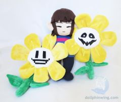 Undertale Plushies Frisk and Flowey by dollphinwing