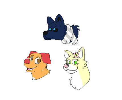Three dogs (Art Trade) by lassie32