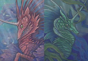 ACEOs - Sea Unicorns by thedancingemu