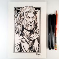 Inktober Day 6 - Tanis Half-Elven by D-MAC