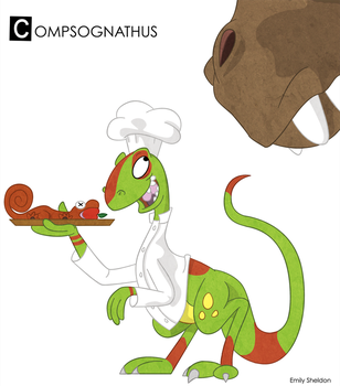 C is for Compsognathus: Color by ersheld