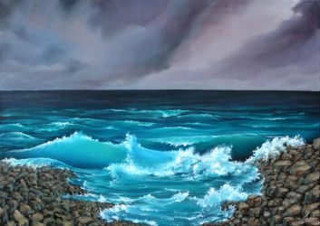 See and waves 50X70 Oil. FOR SALE by Guderna