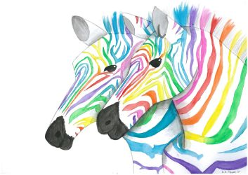 Rainbow Zebras by Popgal120