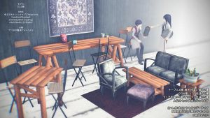 MMD hipster shabby chic Cafe furniture DL by Hack-Girl