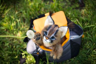 SOLD!  Handmade Poseable toy Caracal Kitten by MalinaToys