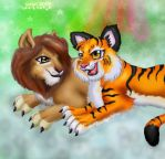 ::The Lion And The tiger_Req:: by norngirl