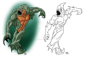 Draw It Again: Piranha Man by ProdigyDuck