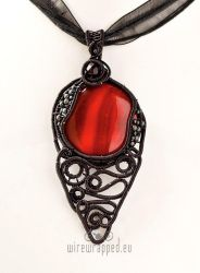 Red fused glass gothic pendant by ukapala