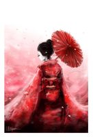 geisha in red by nitiryan