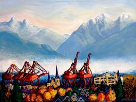 Misty Mountain Cranes by Laurazee