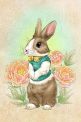 Dutch Bunny and Peony Blossoms by zarry