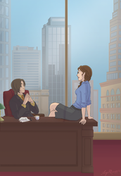 Rumbelle- Bussiness AU by AngelQueen13