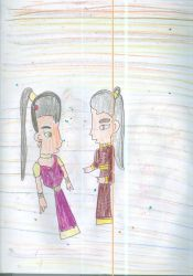Lady Akiko and Prince Zuko after they get faces ba by Kelseyalicia